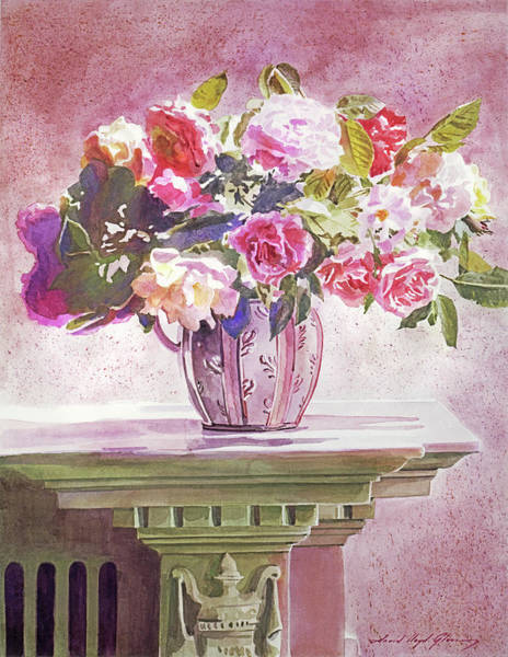 Painting -  Mantlepiece Roses by David Lloyd Glover