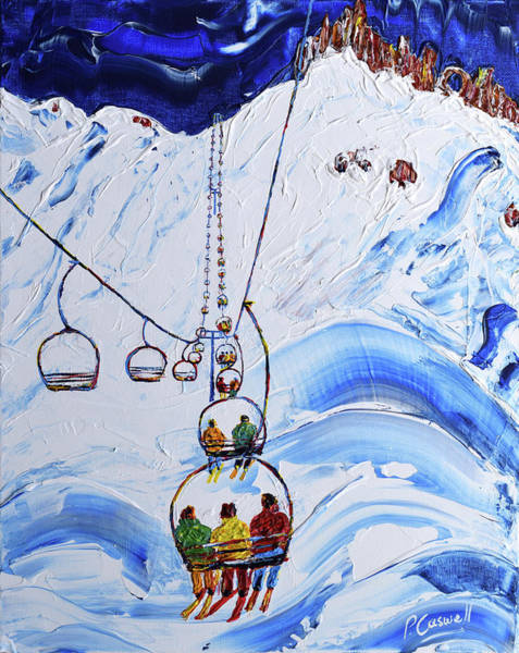 Skiing Painting - 3 Men In A Chair II by Pete Caswell
