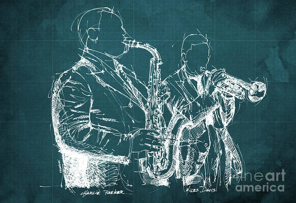 Wall Art - Drawing - Miles Davis And Charlie Parker On Stage, Original Sketch by Drawspots Illustrations
