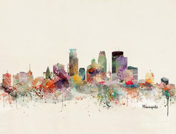 Wall Art - Painting - Minneapolis Minnesota Skyline by Bri Buckley