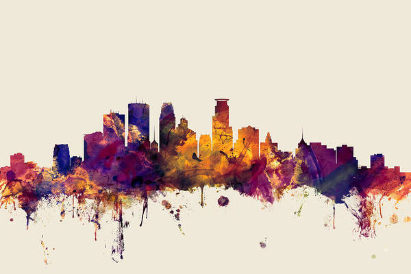 Minneapolis Digital Art - Minneapolis Minnesota Skyline by Michael Tompsett