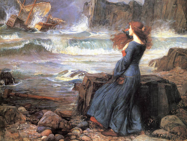20th Painting - Miranda - The Tempest by John William Waterhouse