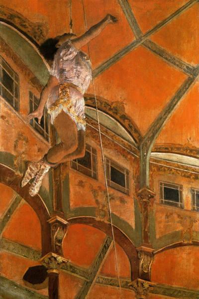 Trapeze Painting - Miss La La At The Cirque Fernando by Edgar Degas