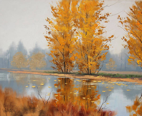 Leaf Painting - Misty Lake by Graham Gercken