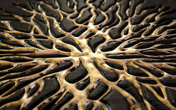Fluid Digital Art - Molten Gold Seeping Out Of Rock by Allan Swart