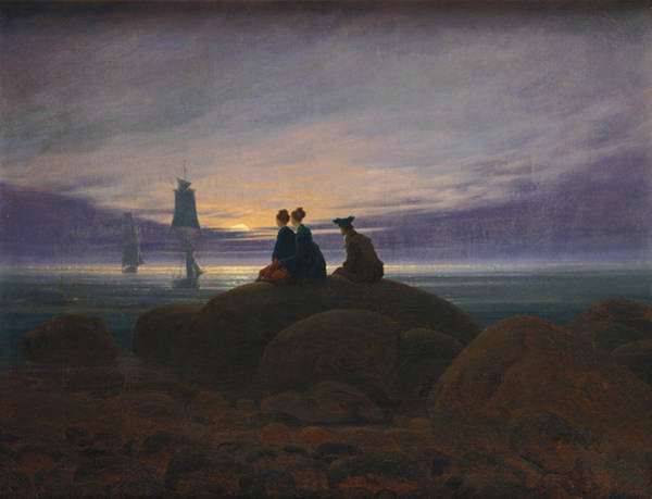 Painting - Moonrise Over The Sea by Caspar David Friedrich