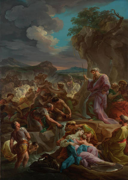 Waterway Painting - Moses Striking The Rock by Corrado Giaquinto