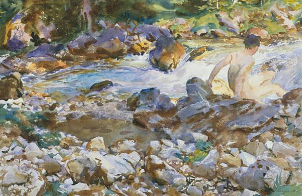 20th Century Man Drawing - Mountain Stream by John Singer Sargent
