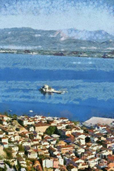 Peloponnese Painting - Nafplio Town And Bourtzi Fortress by George Atsametakis