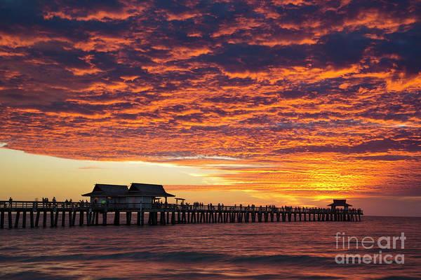 Photograph - Naples Pier Sunset by Brian Jannsen
