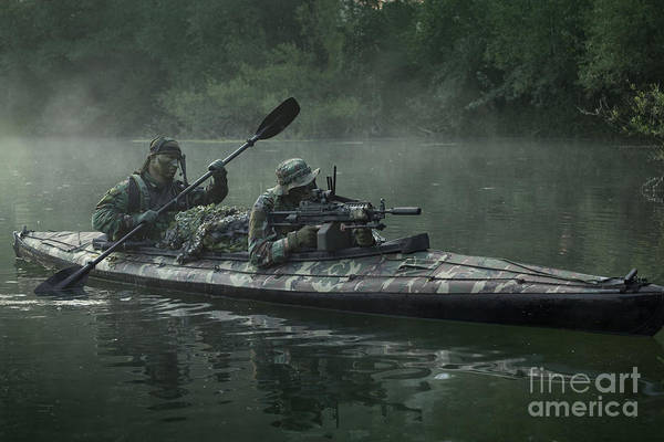Us Marines Photograph - Navy Seals Navigate The Waters by Tom Weber