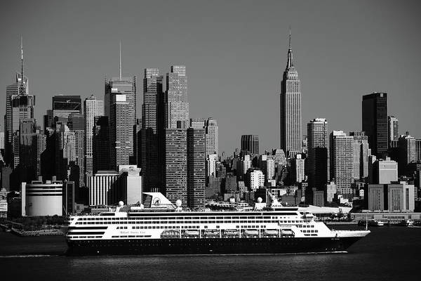 Photograph - New York City Skyline And Cruise Ship by Frank Romeo