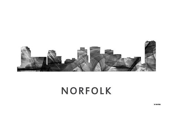 Norfolk Va Wall Art - Digital Art - Norfolk Virginia Skyline by Marlene Watson