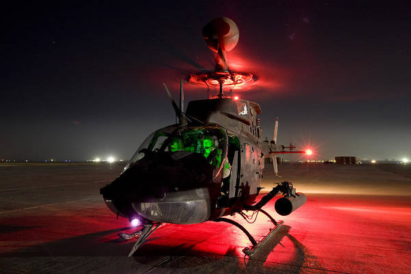Utility Helicopter Photograph - Oh-58d Kiowa Pilots Run by Terry Moore