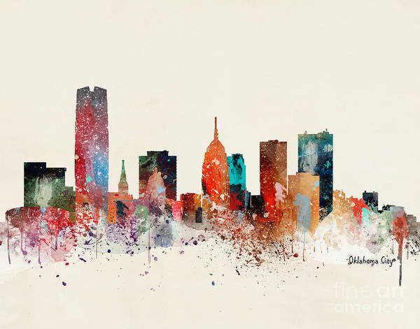 Wall Art - Painting - Oklahoma City Skyline  by Bri Buckley