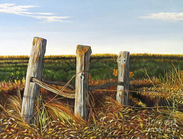 Painting - 3 Old Posts by Marilyn McNish