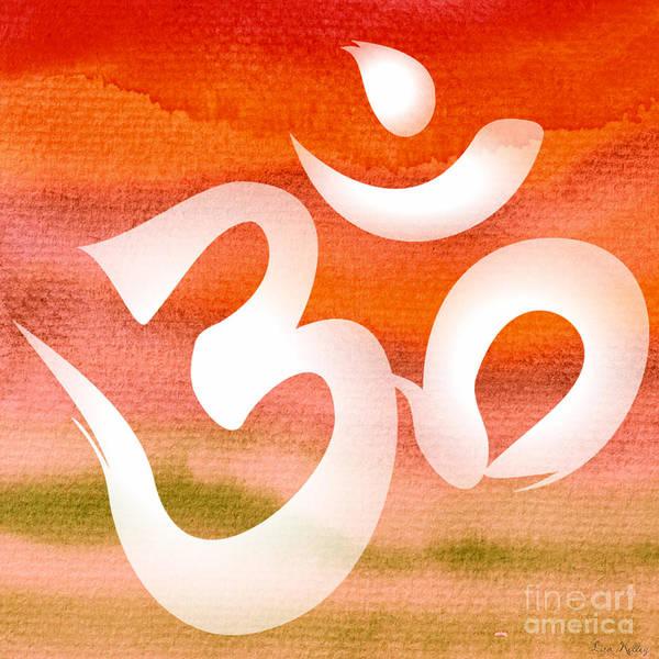 Digital Art - Om Symbol. Orange by Lita Kelley