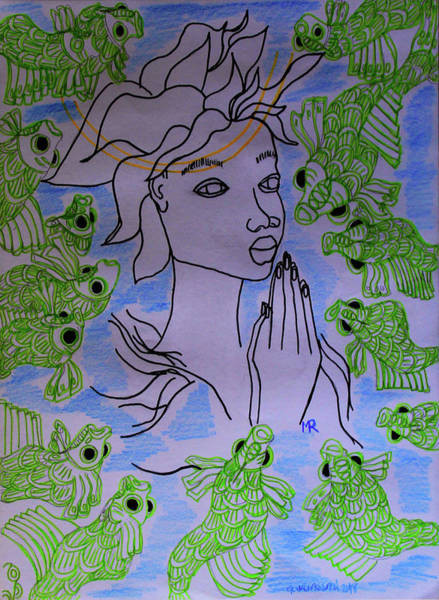 Painting - Our Lady Star Of The Sea by Gloria Ssali