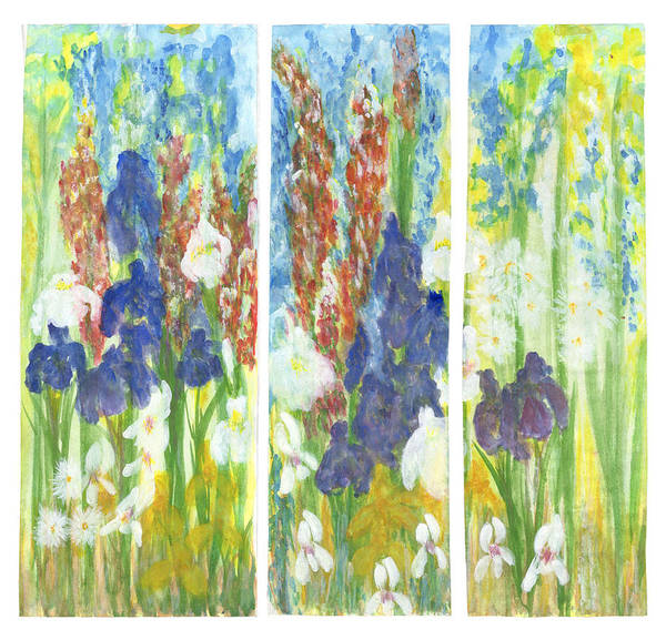 Snapdragons Painting - 3 Panel Flower Garden by Ann Zito