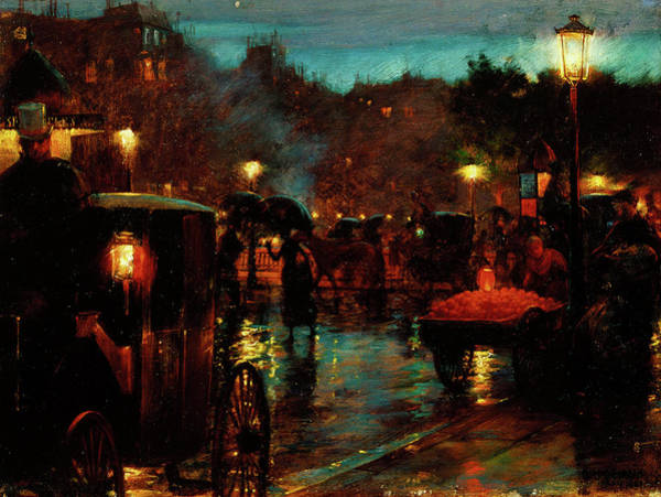 Wall Art - Painting - Paris At Night by Charles Courtney Curran