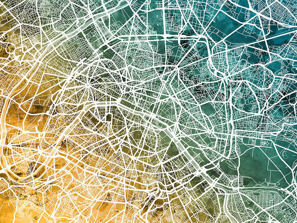 Wall Art - Digital Art - Paris France City Street Map by Michael Tompsett