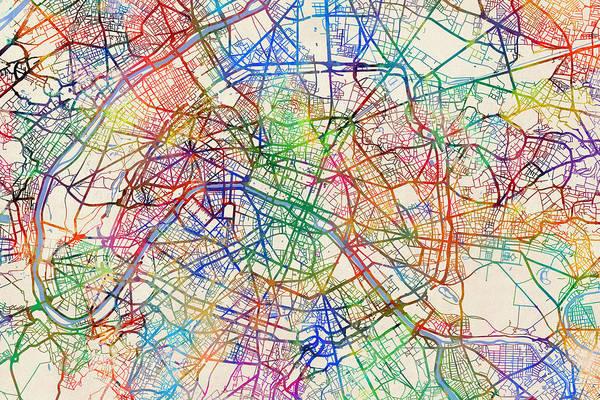 Paris Digital Art - Paris France Street Map by Michael Tompsett