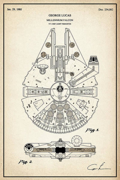 Han Solo Digital Art - Patent Illustration Replica For The Millennium Falcon From Star Wars With Technical Data Information by JESP Art and Decor
