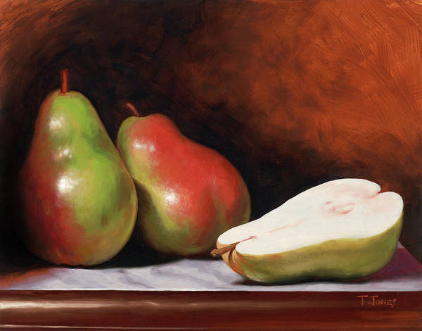 Wall Art - Painting - 3 Pears by Timothy Jones