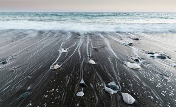 Wall Art - Photograph - Pebbles In The Beach And Flowing Sea Water by Michalakis Ppalis