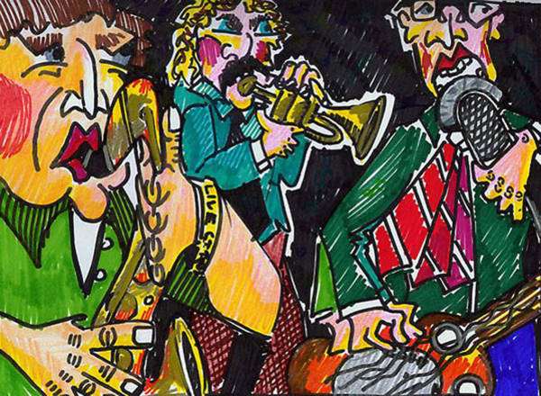 Sax Drawing - 3 Piece by Jame Hayes