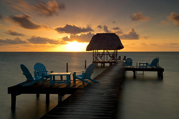 Palapa Wall Art - Photograph - Pier With Palapa On Caribbean Sea by Panoramic Images