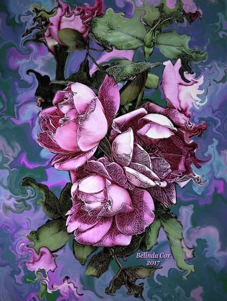Digital Art - 3 Pink Roses by Artful Oasis