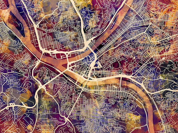 Streets Digital Art - Pittsburgh Pennsylvania Street Map by Michael Tompsett