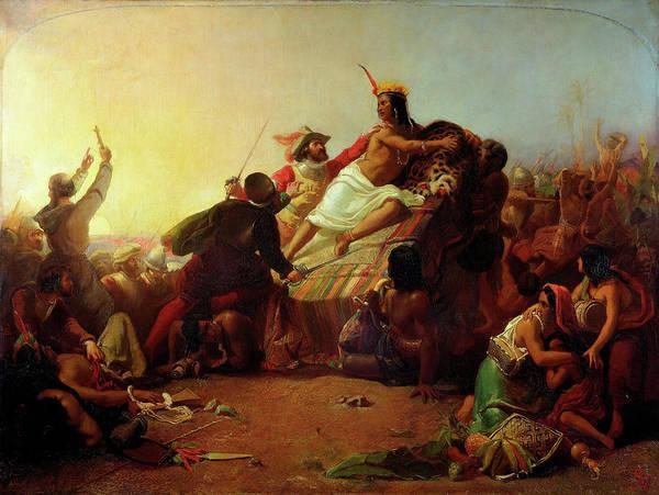 Millais Painting - Pizarro Seizing The Inca Of Peru by John Everett Millais