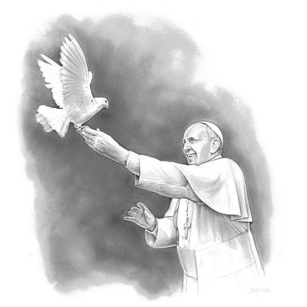 Wall Art - Drawing - Pope Francis by Greg Joens
