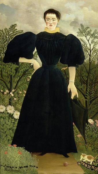 Tuxedo Cat Painting - Portrait Of Madame M by Henri Rousseau