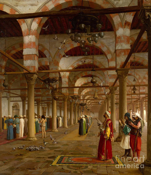 Wall Art - Painting - Prayer In The Mosque by Jean-Leon Gerome