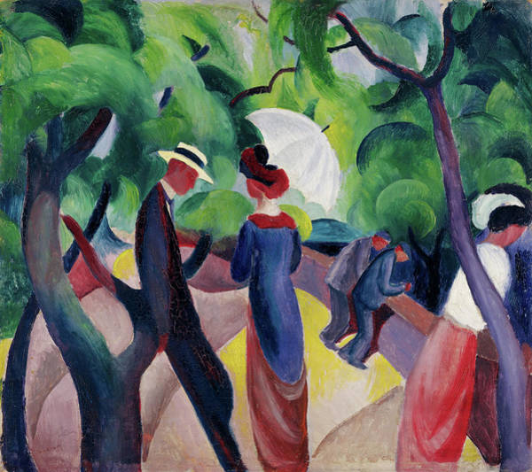 The Blue Rider Wall Art - Painting - Promenade by August Macke