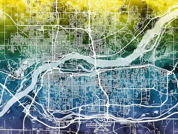 Wall Art - Digital Art - Quad Cities Street Map by Michael Tompsett