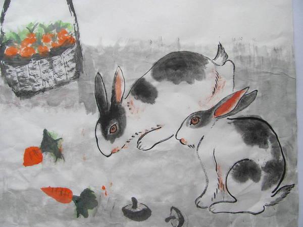 Rabit Painting - Rabits by Jian Hua Li