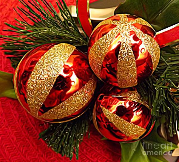 Photograph - 3 Red And Gold Ornaments Pine Needles Expressionist Effect by Rose Santuci-Sofranko