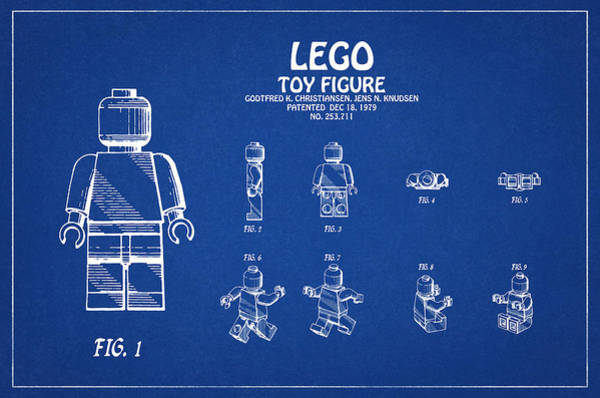Restored Patent Drawing For The Godtfred Christiansen And Jens Knudsen Lego Toy Figurine Art Print