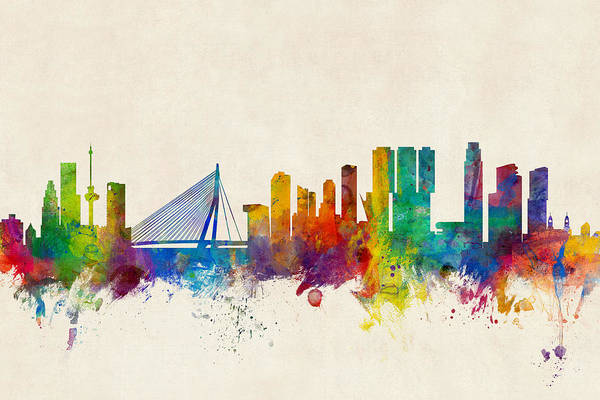 Holland Digital Art - Rotterdam The Netherlands Skyline by Michael Tompsett