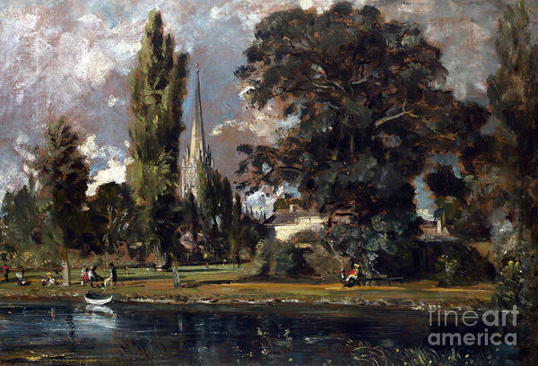 Wall Art - Painting - Salisbury Cathedral And Leadenhall From The River Avon by John Constable