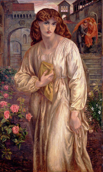 Wall Art - Painting - Salutation Of Beatrice by Dante Gabriel Rossetti