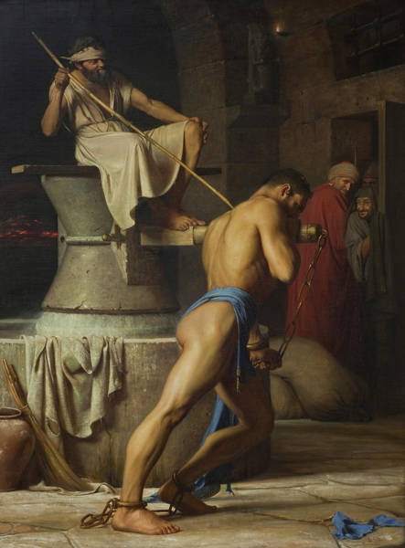 Pulling Painting - Samson And The Philistines by Carl Bloch