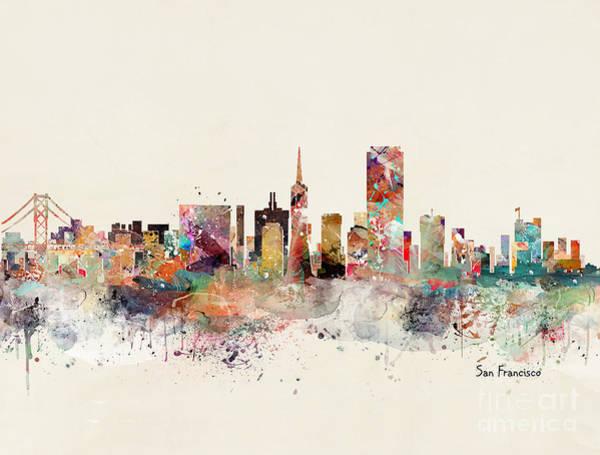 San Francisco Skyline Wall Art - Painting - San Francisco California by Bri Buckley