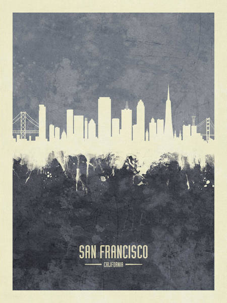 San Francisco Skyline Wall Art - Digital Art - San Francisco California Skyline by Michael Tompsett