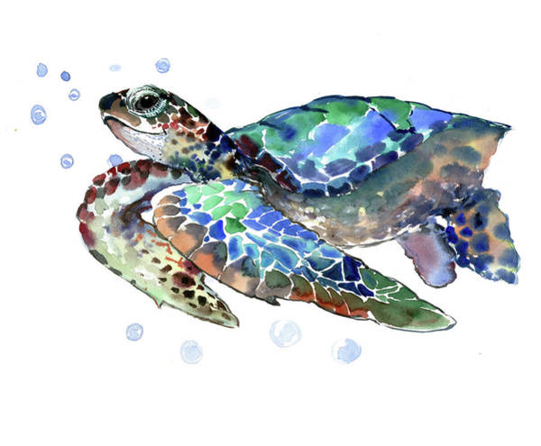 Turtle Painting - Sea Turtle by Suren Nersisyan