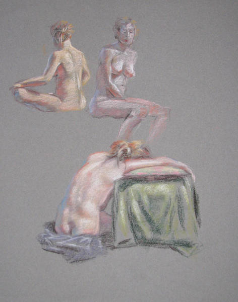 Painting - 3 Seated Female Nudes by Christopher Reid